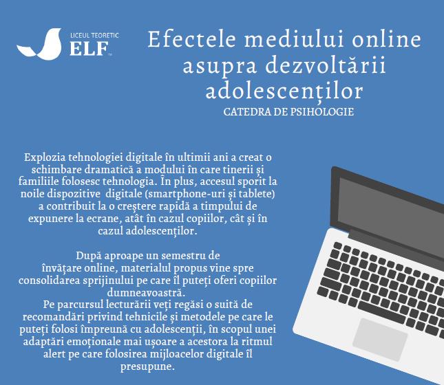 Efectele mediului online asupra dezvoltării adolescenților